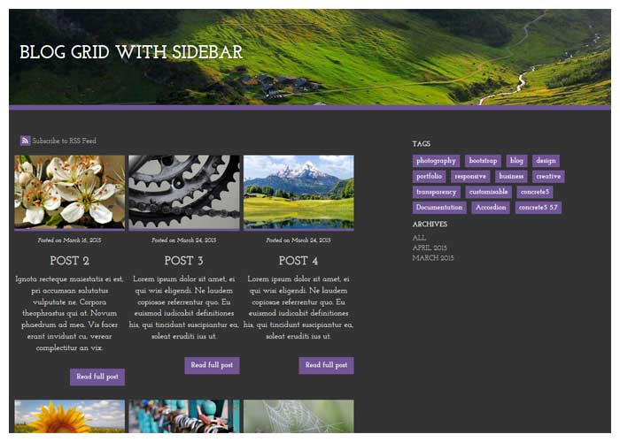 link to blog grid with sidebar demo